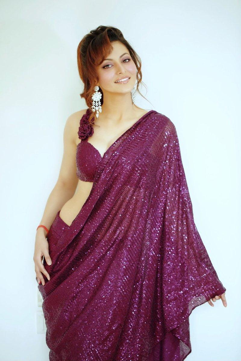 Urvashi Rautela In A Dark Purple Sequin Saree – Anarkalion